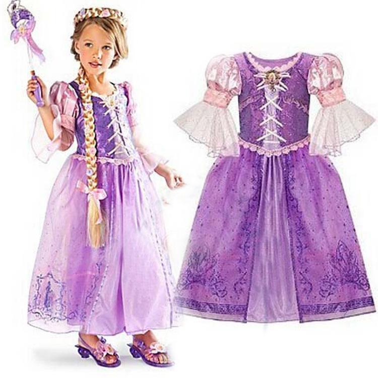 Fantasia Vestidos,2016 Rapunzel Costume for Kids Children Baby Elsa Dress Up Costume Princess Clothes Infantil Sofia(China (Mainland))