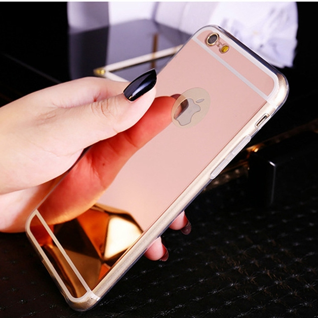 Ultra Slim Soft Case For Iphone 5 5S SE Clear Silicone Edge + Shinny Mirror Back Cover