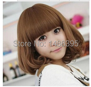 2014 new fringe fashion women soft smooth female girls short curly synthetic hair wigs wine red brown cute lady wig - Lucky Dog's House store