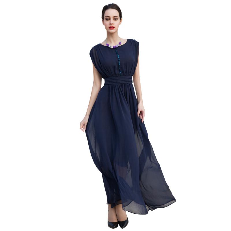 Women Blue Maxi Chiffon Dresses 2016 Plus Size Sleeveless Elegant Long Thin Summer Style Dress Robe Longue Femme 2631(China (Mainland))