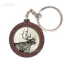 Vintage Animal ciervo llavero Elk cristal cabujón llavero de madera accesorios de moda para mujer regalo de Navidad(China)