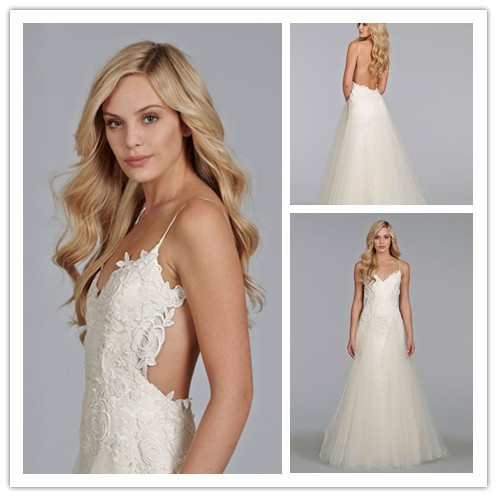 Tulle godets sexy low back wedding dresses 2014 with for Spaghetti strap wedding dress low back
