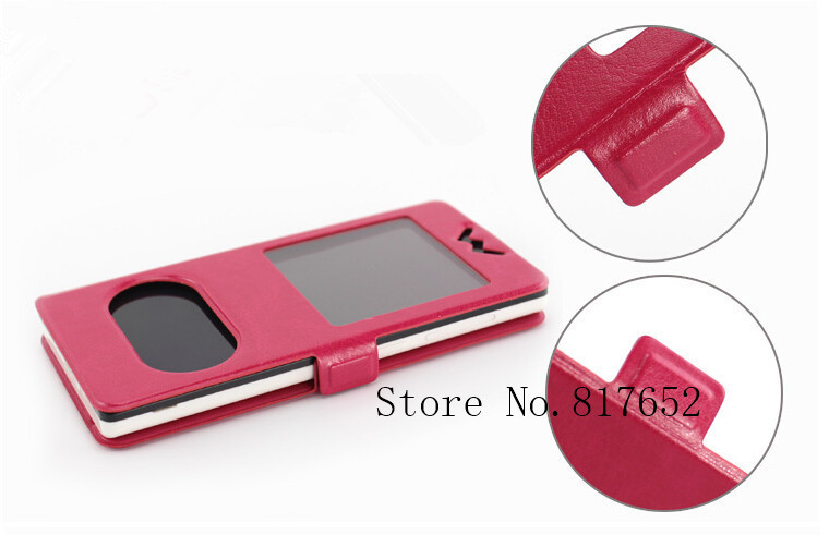 5 Colors New Flip Double View Window Leather Cover Case For huawei honor 3 Outdoor Stand Phone Cases Accessories(China (Mainland))