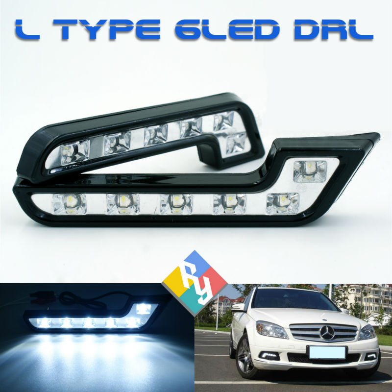 Free shipping New 2PCS 6 LED L Type 5W 12V Daytime Running Light DRL Auto Car