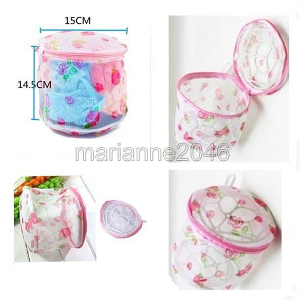 2Pcs/Lot Mesh Fold Bra Washing Laundry Saver Underwear Lingerie Sock Wash Net Basket Bag Sweat And Cute(China (Mainland))