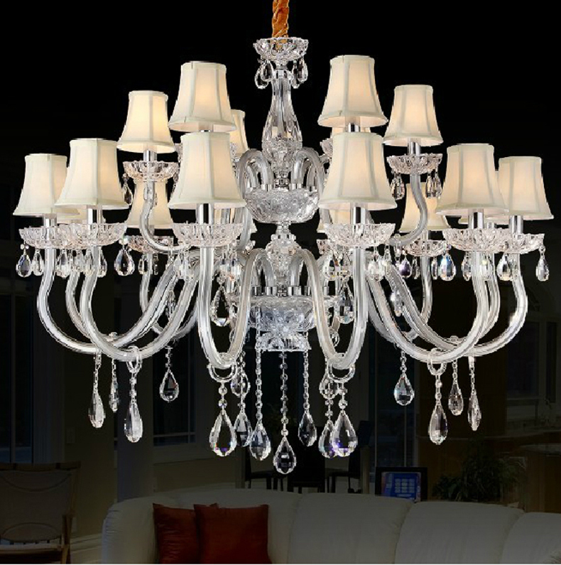 modern crystal chandelier with fabric shade silver chandelier light living room contemporary crystal pendant chandelier bedroom<br><br>Aliexpress