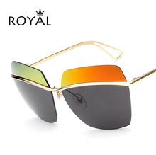 Cool Women Brand Designer Sun Glasses Newest Fashion Women Classic Big Metal Frame Cat Eye Sunglasses Rimless Mirror Lens