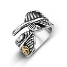 MENG Hot New Bird Stainless Steel Rings for Men Punk Feather Finger Ring Japan Goro Style Fashion Jewelry JB16075