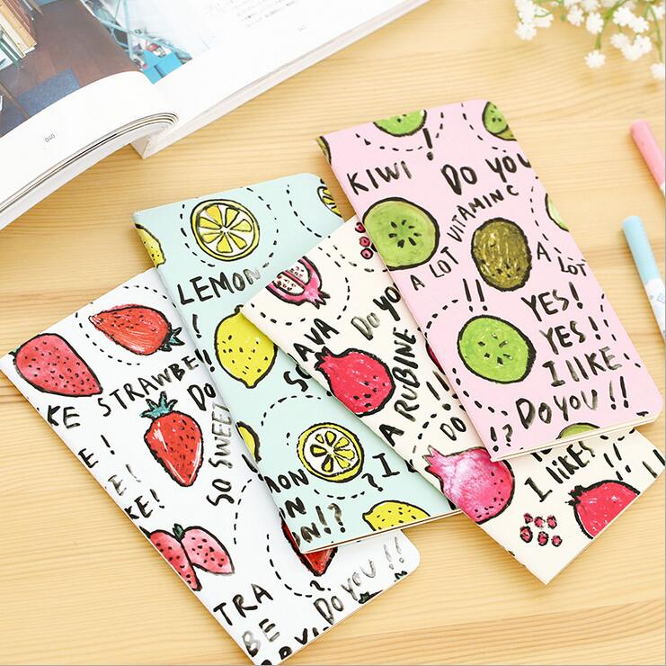 4pcs/lot New Cute fruit series notebook Stitching Binding Daily memo blank note book Office Stationery School Supplies(China (Mainland))