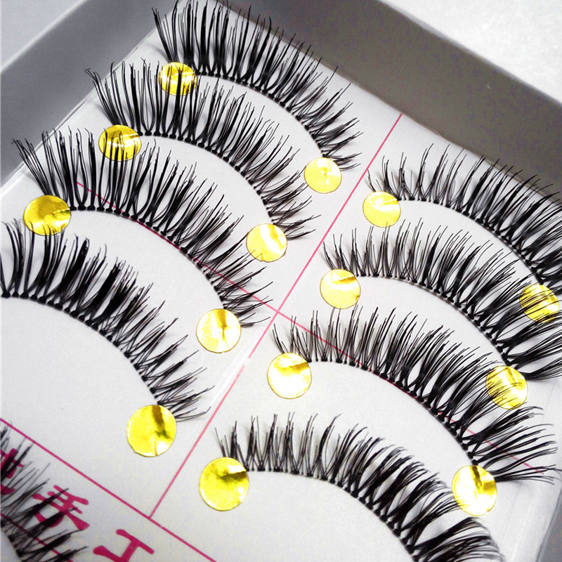New 10pair false eyelashes Hand Made Made Black eyelashes Natural eyelash extension Cluster Set Makeup(China (Mainland))
