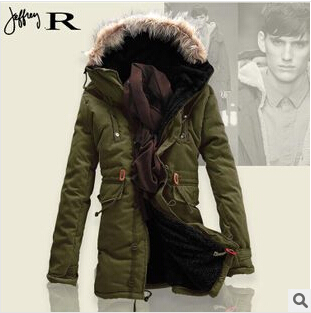Men s winter jackets New 2015 Brand Fashion Long Down Jacket Men Solid Cotton padded jackets