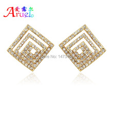 ohrringe fashion jewelry boucle d'oreille femme gold quare stud strass crystal earrings women brincos ouro rhinestone ear rings