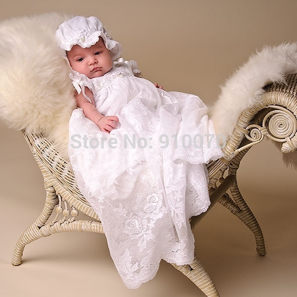 HN-1 2015 Vintage Hot Cheap Imitated Silk Baptism Baby Girls Dresses For Wedding/Cut White Lace With Cap Infant Christening Gown(China (Mainland))
