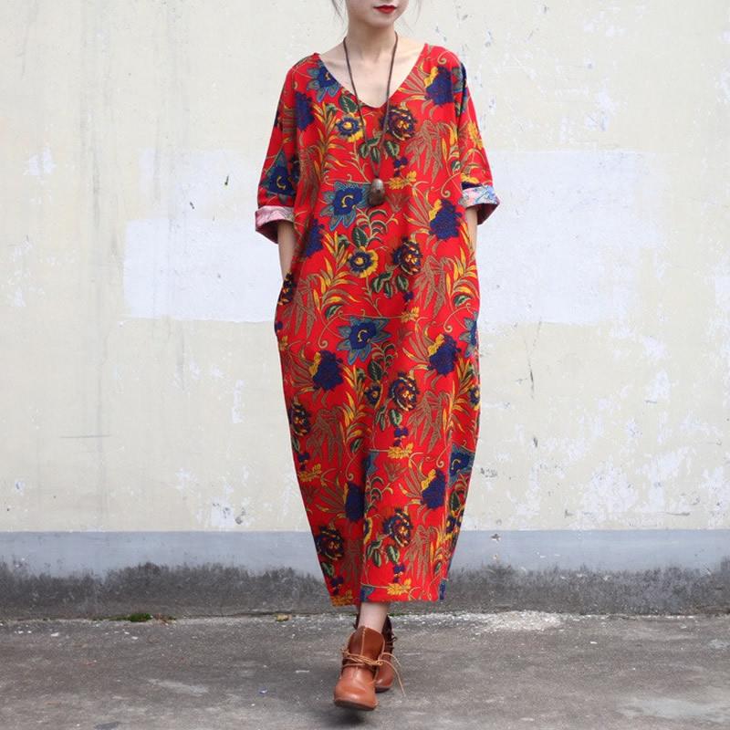 Red Flower Print V-neck Women Dress Chinese style Plus size Loose Summer Dress Oversized Boho Long Dresses Linen Robe Femme Y0(China (Mainland))