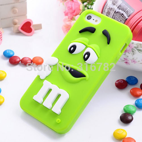 3D Colorful Candy Color Cute Lovely M&M Silicone Cell Phone For iphone5s soft Case Cover For iphone 5 5s 5c phone cases(China (Mainland))