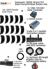 Solarparts off-grid Solar System KITS 1500W flexible solar panel 1x 120A controller 3KW inverter,2 sets 4 in1 MC4 adaptor cable