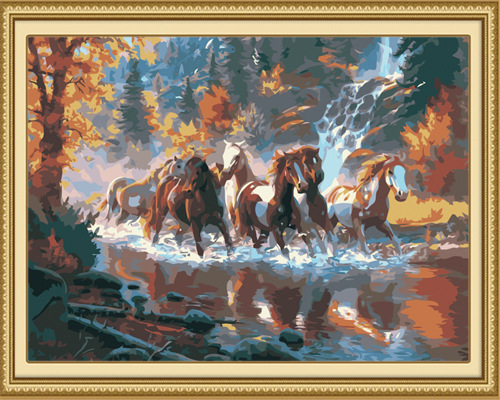 Gunma the river DIY digital painting frameless painting the living room decorative landscape painting hand-painted animals(China (Mainland))