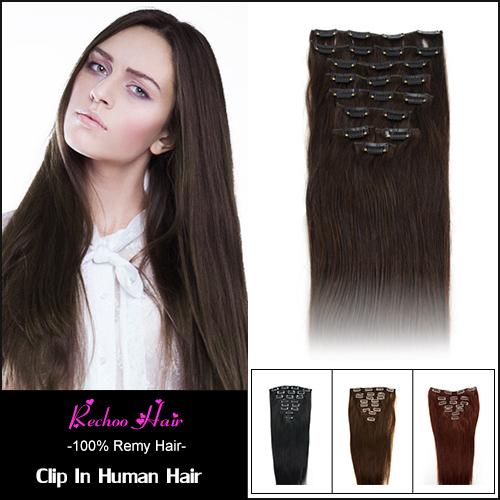 Human Hair Clip Ins For Black Hair 7 8 10 Pcs Remi Clip In Human Hair Extensions 160G 100% Real Human Hair Extensions Clip In(China (Mainland))