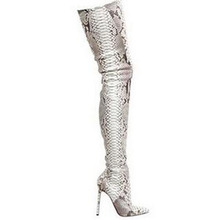 Fashion python leather boots snakeskin pattern pointed toe womens thigh high boots over the knee high heeled boots women's shoes(China (Mainland))