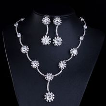 2016 Fashion Sunflower Jewelry Sets Girly Necklace Pendant Earrings Women Bride Clear Crystal White For Wedding Costume Jewelry(China (Mainland))