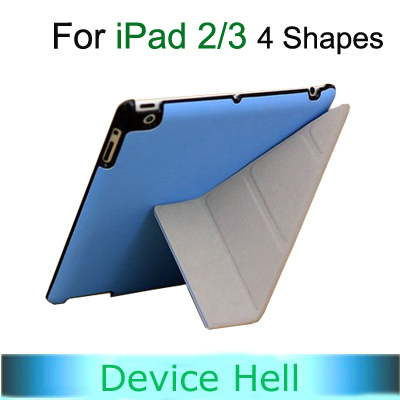 Hot Sale 4 Shapes Leather Smart Cover Case for ipad 3 2 slim, Embossed Hard Shell +Anti-skid Rubber + utrathin design free ship