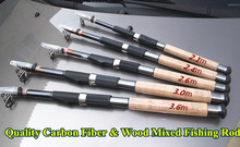 1x Quality Wooden & Carbon Fiber Mixed telescopic fishing pole rod for sea rock boat river lake stream fishing low price on sale