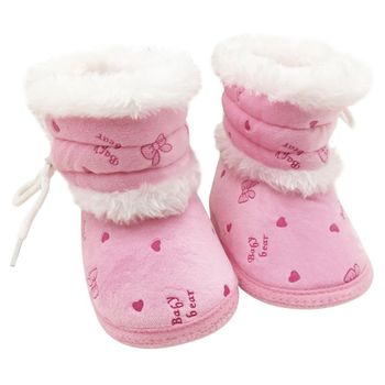 Newborn Baby Plush Winter Warm Boots Toddler Non Slip Soft Sole Crib Shoes 0-18M