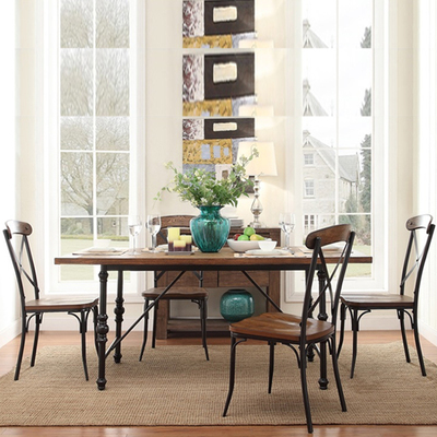 Nordic American country French Vintage Iron dinette combination of solid wood, wrought iron dining table restaurant(China (Mainland))