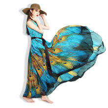 M-9XL 2016 New High Quality National Wind Bohemian Print Chiffon Dresses Peacocks Plus Size Beach Dress