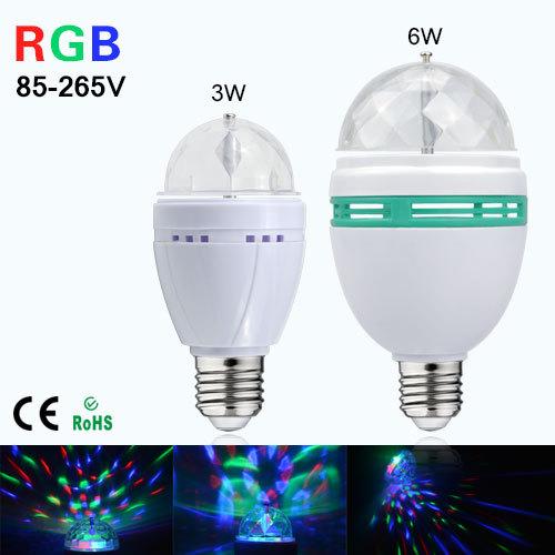 1Pcs 3W 6W RGB LED lamp E27 AC 110V - 220V Auto Rotating Stage lights Magic Ball Bulb For Home DJ Party Dance Decoration(China (Mainland))