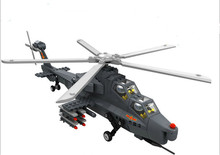 Military Toy Fighter Modern Warfare W-Z10 Gunship Helicopter 1:38 Model Building Block Sets Compatible With Legoe
