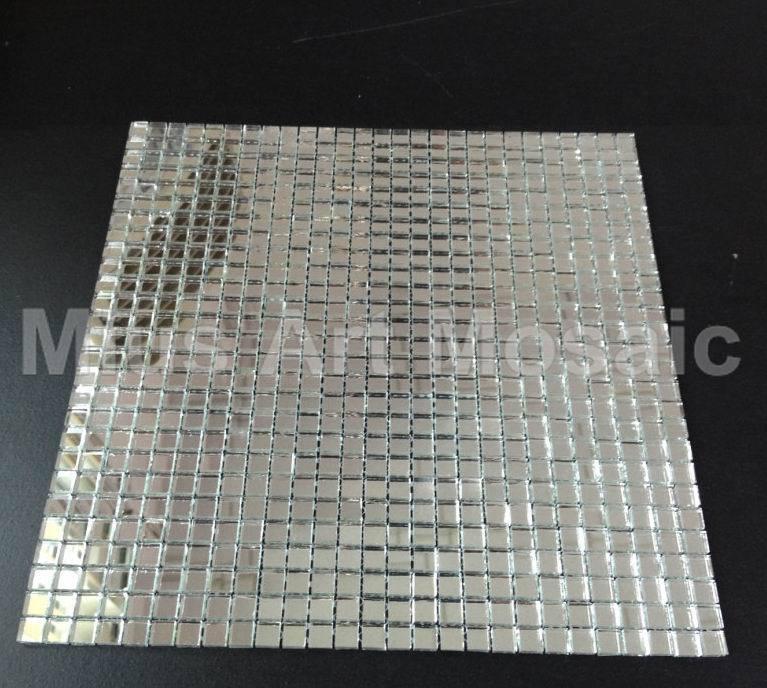 Mius art mosaic plain silver mirror mosaic art glass - Mirror mosaic tile backsplash ...