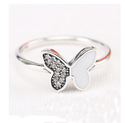 Authentic 925 Sterling silver Sparkling butterfly clear cz Original ring European Women style Compatible Pandora jewelry - charms bracelets store