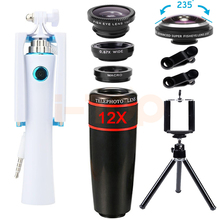 Buy 2017 12X Telephoto Zoom Lenses Telescope 235 degree Fisheye Lentes Wide Angle Macro lens Mini Selfie Stick Tripod Cell Phone for $20.13 in AliExpress store