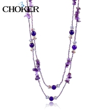 Amethyst Long Statement Necklaces for Women Purple Natural Stone Beads Maxi Vintage Accessories Ethnic Jewelry Collier Femme(China (Mainland))