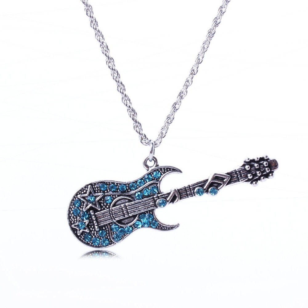 Antique Silver Rock Punk Crystal Guitar Chain Pendant Chocker Sweater Necklace Statement For Women Jewelry(China (Mainland))