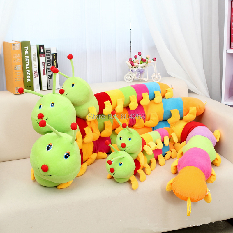 Lovely Colorful Baby Toys Caterpillars Millennium Bug Doll Plush Toys Large Caterpillar Hold Pillow Doll High quality 55*13cm(China (Mainland))