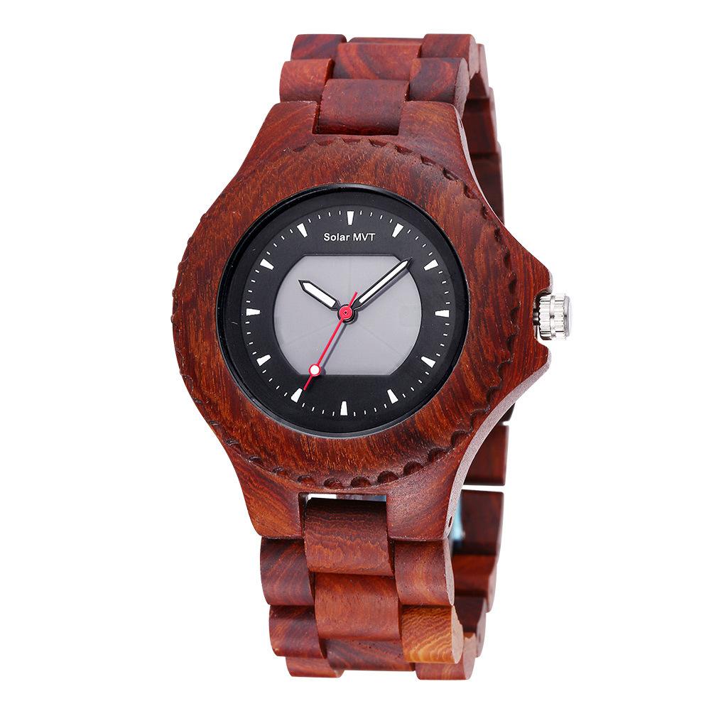 Bewell High-Grade Sandalwood Solar Watch Sports Men Leisure Wooden Watches Hombre Watch Reloj Brazalete Hombre Watch Oulm<br>