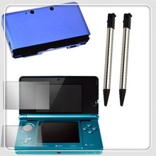Blue Aluminum Hard Metal Cover Case + LCD Screen Protector Film Guard +2x Black 3DS Retractable Metalic Stylus for Nintendo 3DS
