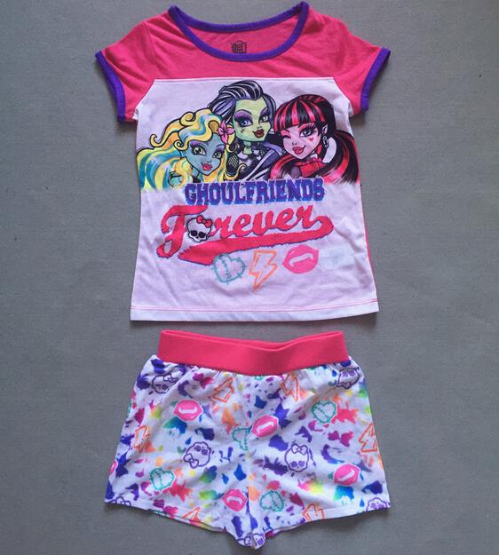 Summer Monster Girls Clothing Sets Casual Suit Children Short Sleeve T Shirt +Panties 2pcs Set Kids Clothes Ever After High Suit<br><br>Aliexpress
