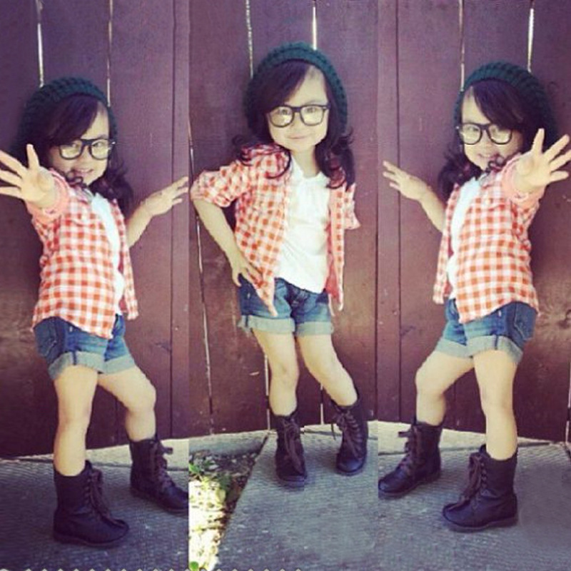 2015 Style Kids Girl Clothes Sets Red Grid Blouse Vest T