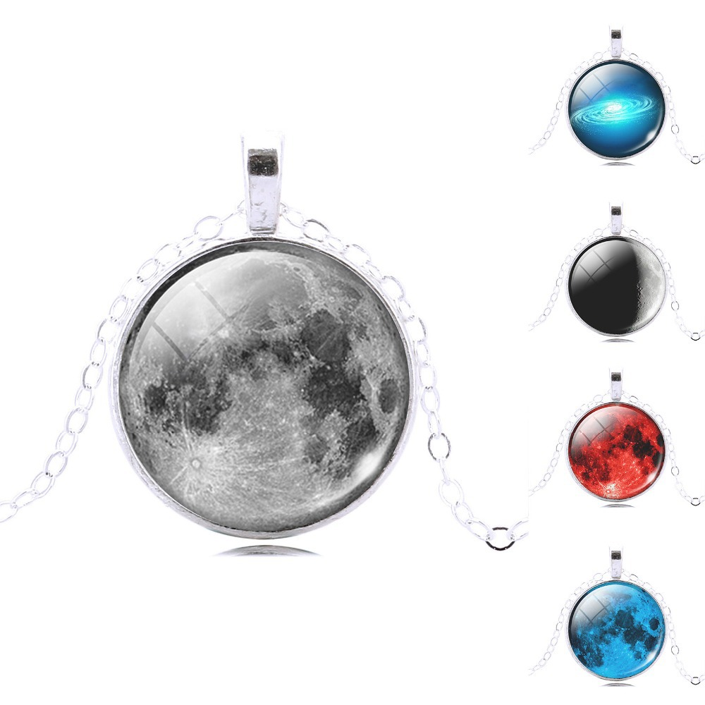 galaxy art picture glass cabochon necklace moon pendant antique silver Statement Necklaces & Pendants Fashion Jewelry(China (Mainland))