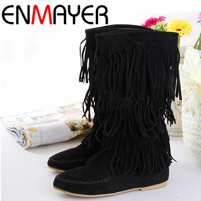 ENMAYER New Fashion Women's 3 Layer Fringe Tassels Flat Heel Boots Decoration Mid-Calf Slouch Shoes Size 4-10.5 Women Boots(China (Mainland))
