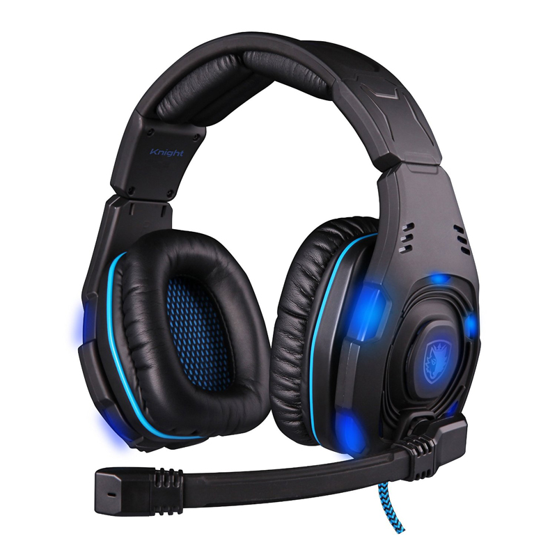 Top Level Brand SADES SA-907 7.1 Sound Glittering Pro Gaming Headset Headphone with Mic Powerful Bass Stereo Earphone for Gamers(China (Mainland))
