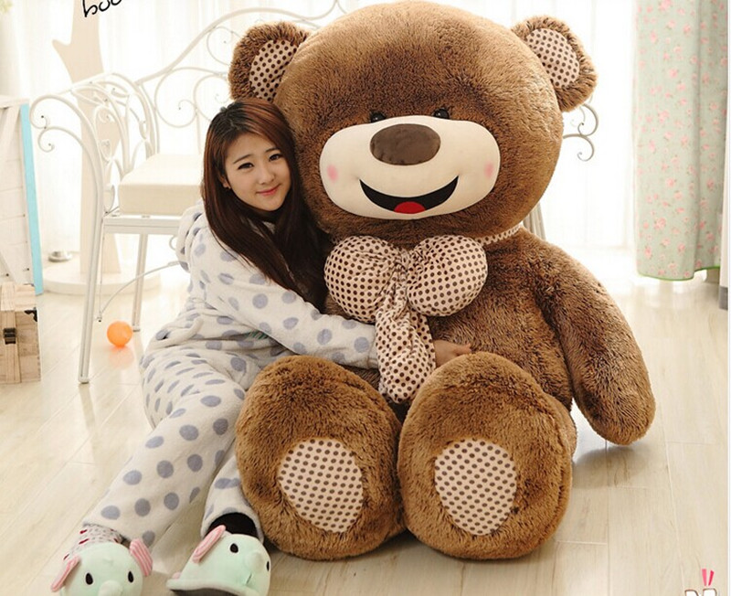 brown teddy bear, bowtie bear large 160cm smile bear plush toy hugging pillow surprised birthday gift h982(China (Mainland))