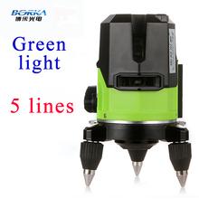 Del envío del nuevo lanzamiento exterior 5 línea 4V1H Borka verde laser cross line autonivelante 360 línea de rotary piso láser niveles láser