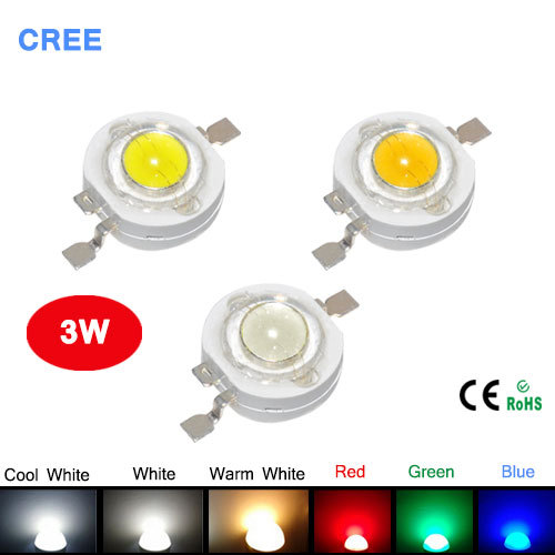 10Pcs Real Full 3W watt High Power LED lamp Beads 220-240LM CREE SMD Chip LEDs Diodes Bulb For 3W - 18W Spot light Downlight(China (Mainland))
