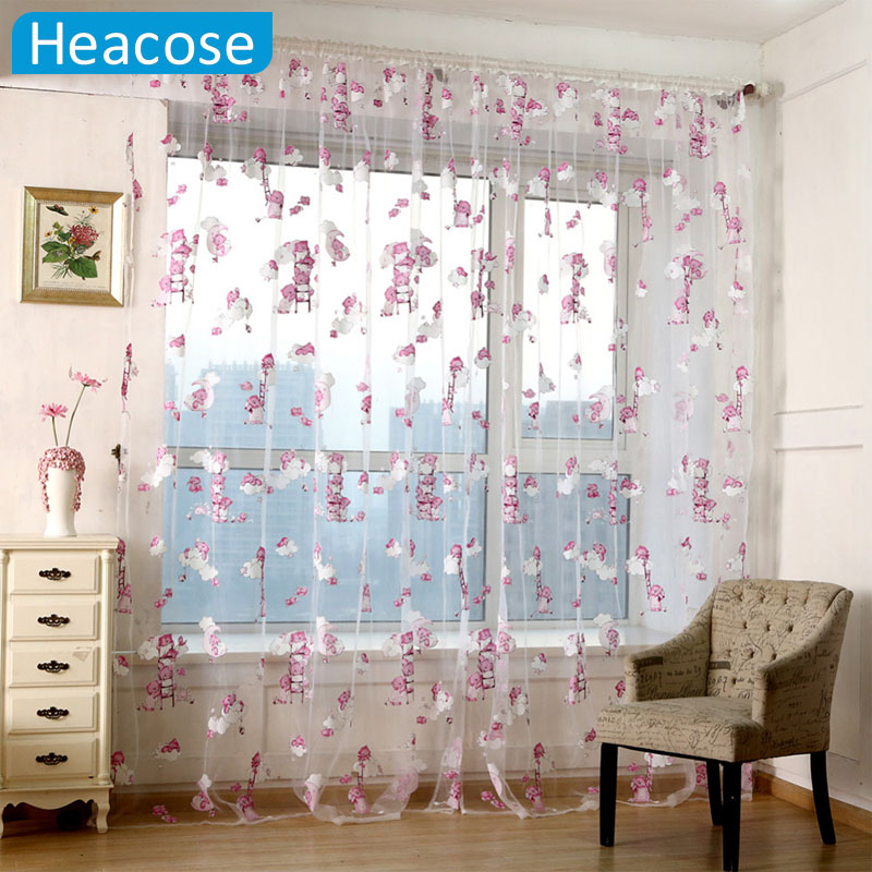 CUTE Children bear Pattern curtain Cartoon Animal Printed tulle for window living room kids bedroom decor cortinas home textile(China (Mainland))