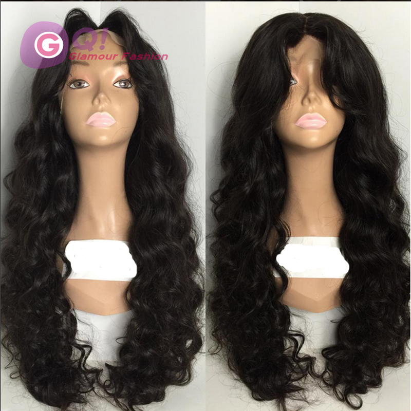 Фотография GQ 8A Unprocessed Full Lace Human Hair Wigs Natural Body Wave Virgin Brazilian Lace Wigs With Bangs Free Part Wavy Lace Wigs 28