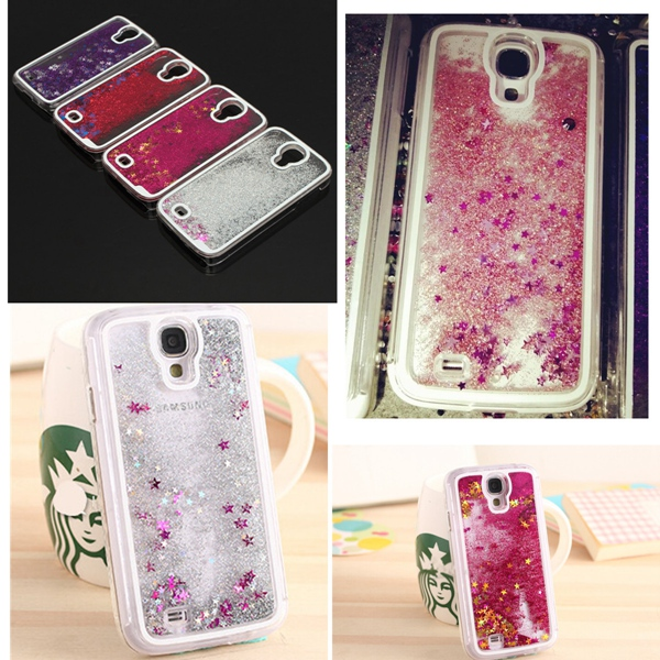 Brand new Glitter Bling Stars Colourful Dynamic Liquid Quicksand Hard Case Cover Protector For Samsung Galaxy S4(China (Mainland))